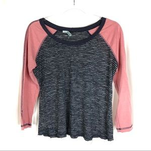 Maurices | Navy & Pink Striped Baseball Tee